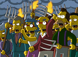 Simpsons-angry-mob-pitchfork-torches