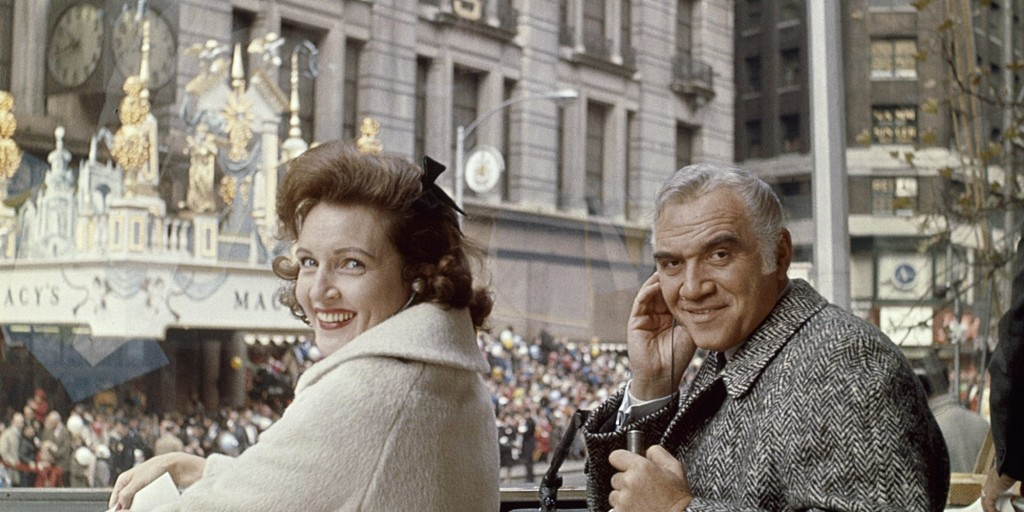 MACY'S THANKSGIVING DAY PARADE -- Pictured: (l-r) Hosts Betty White and Lorne Greene during 1965 Macy's Thanksgiving Day Parade -- Photo by: NBCU Photo Bank
