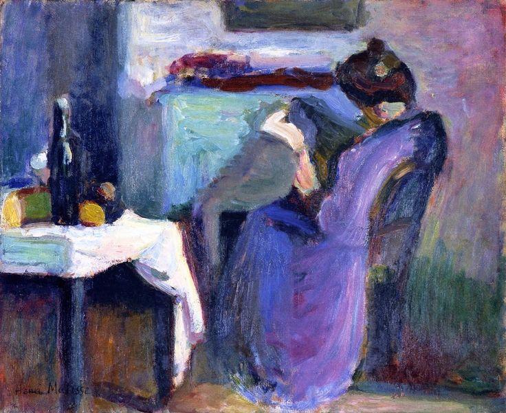 Image result for Henri Matisse - Reading Woman with Violet Dress 1898 Reading Woman in Violet Dress / Henri Matisse, 1898