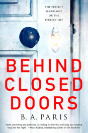 book cover showing white door and black round doorknob with title Behind Closed Doors