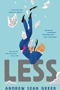 "cover of book ""Less"" showing man falling, surrounded by papers"