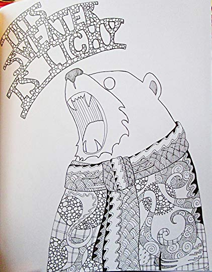 Drawing of a bear, saying this sweater is itchy, from goodreads