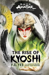 cover image of the book, Avatar Kyoshi in full make up and dress with golden fan