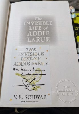Title page of The Invisible Life of Addie LaRue. There is a bookplate signed by the author on the page.
