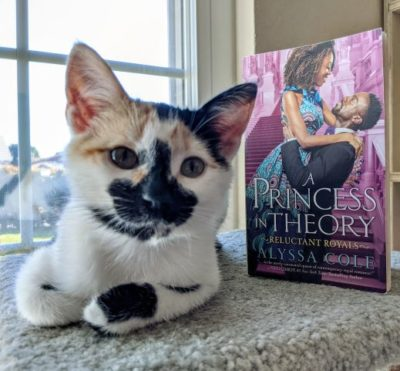 A calico kitten lying down next to the book A Princess in Theory.
