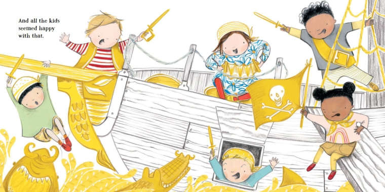 Illustration from book, featuring six children all pretending to be pirates