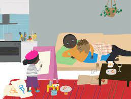 Illustration  of three Black characters - two parents and a smaller child.  The adults are lounging on a couch, one seems to be asleep atop the other, who is looking at the child.  We see the back of the child, wearing a beret and standing in front of a pink easel and paints.