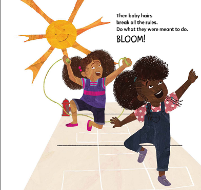 illustration of two girls (one brown one black) playing outside under the sun