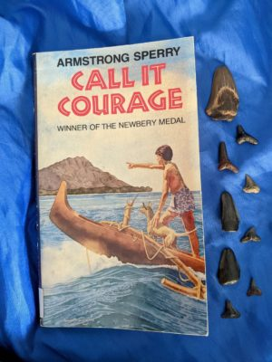 The book Call It Courage by Armstrong Sperry is on a blue cloth with fossilized shark teeth next to it