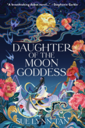 Illustration of Night Sky, asian female below a golden moon, surrounded by flowers & swirls