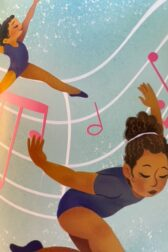 Illustration of young African American girl dancing in a purple leotard, surrounded by large music notes